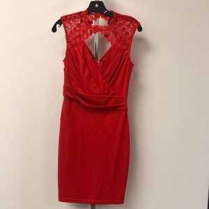 NWT Bebe Red Pleated Lace Small Mini Dress